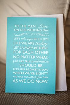I Love This Card The Bride Gave Her Groom On Wedding Day Photo By