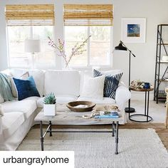 How beautiful is @urbangrayhome 's light filled living room? Can anyone spot our Topkapi Throw? Hint: It is a beautiful shade of green