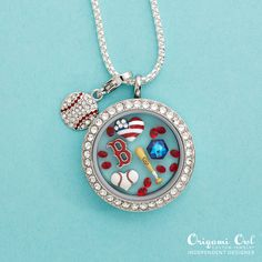 Boston Redsocks themed locket. Jewelry you wear to tell your story and your love for the game! Living Lockets paired with dangles for even more custom looked. #OrigamiOwl #MLBjewelry    facebook.com/O2LocketLove