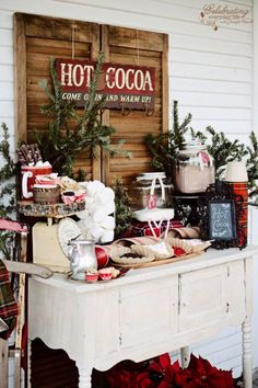 With this hot cocoa bar on your porch, guests will feel warm and cozy before even stepping through the front door.  See more at Celebrating Everyday Life.