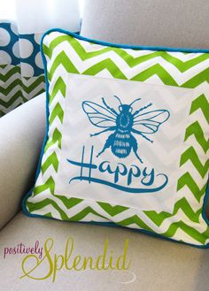 Piping Tutorial + Bee Happy Pillow | Positively Splendid {Crafts, Sewing, Recipes and Home Decor}
