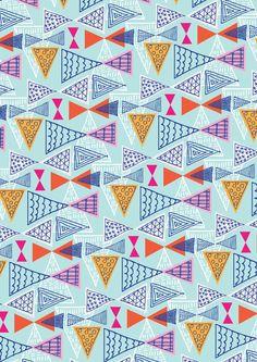 Doodle Geometric Mid Century Modern Triangle Triangles - Colourway 2 - Ryan…