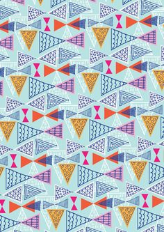 Doodle Geometric Mid Century Modern Triangle Triangles - Colourway 2 - Ryan Deighton