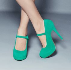Green suede Mary Janes