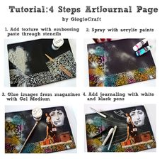 4 Steps Tutorial ArtJournal page 'Travel Happpily'