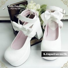 White Patent Leather Platform High Heel Lolita Wedding Bridal Shoes SKU-11405449