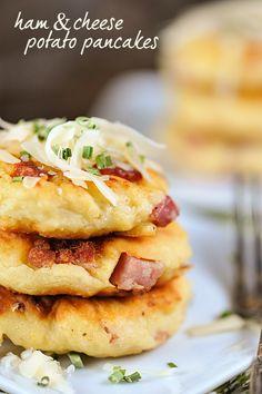 Ham and Cheese Potato Pancakes. Ham and Cheese Potato Pancakes Mashed Potato Pancakes, Potato Cakes, Potato Dishes, Potato Recipes, Pork Recipes, Recipies, Crepes, Breakfast Dishes, Breakfast Recipes