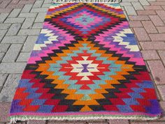 "Anatolia Turkish Antalya Classic Kilim 30,3"" x 51,5"" Area Rug Carpet #Turkish"