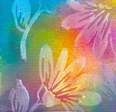 Watercolor paper stamped with gesso and sprayed with Color Mists - the link doesn't work - pinning for inspiration for art for my littles Watercolour Tutorials, Watercolor Techniques, Art Techniques, Art Journal Pages, Art Journals, Gesso Art, Craft Robo, Art Carte, Motif Floral