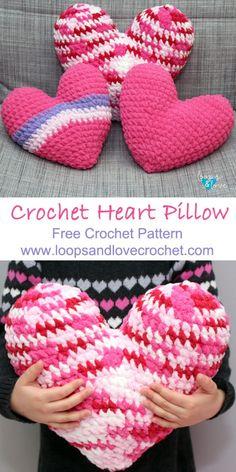 These heart pillows are so soft and… Crochet Heart Pillow – Free Crochet Pattern! These heart pillows are. Holiday Crochet, Crochet Home, Love Crochet, Crochet Gifts, Diy Crochet, Crochet Hearts, Crochet Owls, Crochet Animals, Crochet Ideas