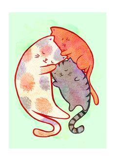 Cat Family 5x7 Illustration Print. $10.00, via Etsy.