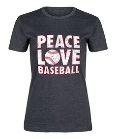 Heather Charcoal 'Peace Love Baseball' Fitted Tee