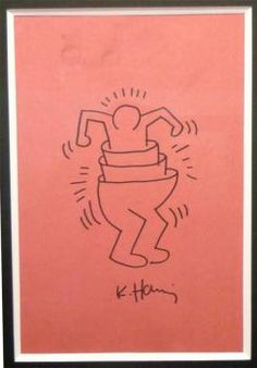 """Keith Haring  """"Call me""""  feutre sur papier, 28 x 20 cm, 1988"""