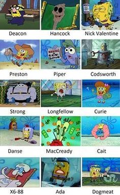 fallout 4 represented by spongebob Fallout 4 Funny, Fallout 4 Mods, Fallout Art, Fallout New Vegas, Fallout Comics, Video Game Memes, Video Games Funny, Funny Games, Funny Puns