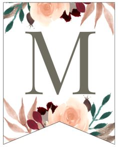 Letter M Fall Floral Alphabet Banner Letter Free Printable. Customize a banner for your fall home decor, a birthday, wedding, or baby shower. Free Printable Banner Letters, Free Printable Numbers, Printable Paper, Free Printables, Floral Banners, Floral Letters, Ramadan Crafts, Paper Trail, Custom Banners