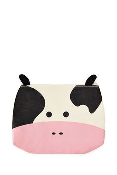 A woven canvas makeup pouch featuring a cow print on the front with protruding felt ears and a zip-top.