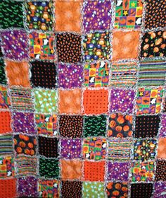 Halloween Rag Quilt  66 X 58 Blanket Cotton Orange by nanaswoolies