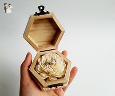 Rustic Engagement Ring Box with Sola Flower and Lace - Wedding table decor (*Amazon Partner-Link)