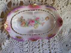 hand painted dish from germany by jimsfancy on Etsy
