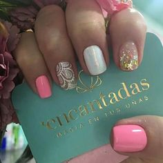 Inés Gem Nails, Gelish Nails, Hair And Nails, Nails 2017, Square Acrylic Nails, Lace Nails, Manicure E Pedicure, Fabulous Nails, Nail Stamping