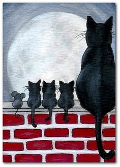 Details about Just Like Family Black Cat Kittens Fence Mice Mouse Friends- by BiHrLe Print - Animals I Love Cats, Crazy Cats, Cute Cats, Art And Illustration, Cat Illustrations, Halloween Illustration, Cat Quilt, Cat Drawing, Drawing Base