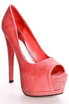 salmon / coral peep toe heels