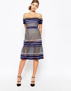 Image 4 of Self Portrait Striped Mesh Midi Dress With Peplum Hem
