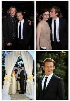 Jamie Campbell Bower and Lily Collins at Kevin Zegers' wedding