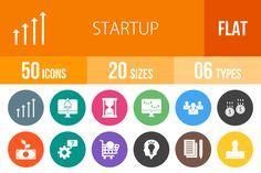 50 Startup Flat Round Icons @creativework247
