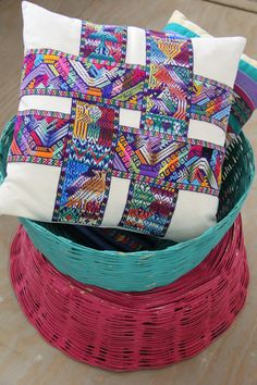 Guatemalan pillow cover with handwoven belt