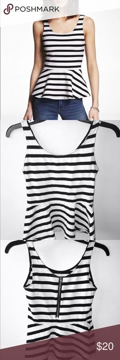 Express Striped Peplum Top Black and white striped express peplum top Express Tops
