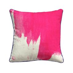 100% linen cushion hand screen printed with splash design in pink finished with navy blue piping (C740).  Dimensions: 40cm x 40cm (feather insert included)  Care Instructions: Remove insert and hand wash or gentle machine wash separately with gentle laundry liquid, line dry and iron on reverse whilst slightly damp. Please do not bleach, tumble dry or dry clean.  To purchase cushion without its feather insert please apply the coupon code NOFILL at checkout.