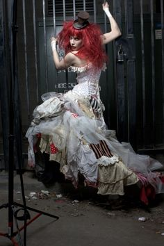 Kooky grimm and gothic circus fashion love the tattered patchwork dress would be great for an alternative wedding or prom night with a difference...go festival in it or rocky horror the night away
