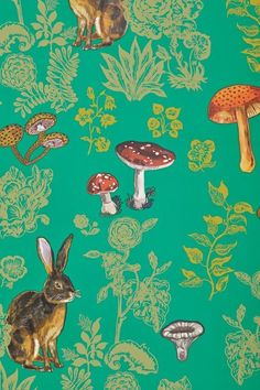 Mushroom Forest Wallpaper by Nathalie Lete NEW $148 #Anthropologie #WAllpaper #NathalieLete #WoodlandAnimals #Mushrooms #Green #Gold