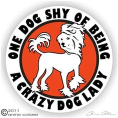 One dog shy of being a crazy dog lady :3 Chinese crested decal