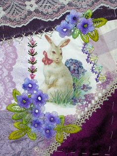 Crazy Quilting and  Embroidery Blog by Pamela Kellogg of Kitty and Me Designs: Stitching A Bunny