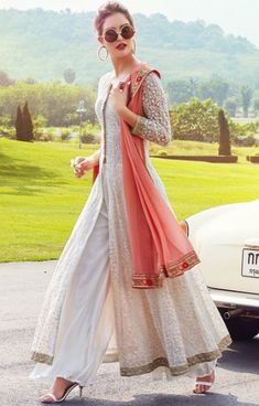 Buy Cream Georgette Thread Embroidered Designer Salwar Kameez Online WhatsApp us for Purchase & Inquiry : Buy Pakistani Dress Design, Pakistani Outfits, Indian Outfits, Designer Salwar Kameez, Designer Sarees, Wedding Salwar Kameez, Salwar Kameez Online, Salwar Designs, Indian Fashion Salwar