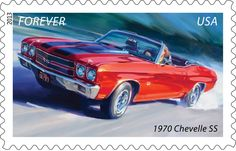 The first of five Muscle Cars Forever® stamps features the lightning quick 1970 Chevelle SS. The Muscle Cars stamps will be released in February. (General Motors Chevelle and Pontiac Trademarks used under license to the USPS.)