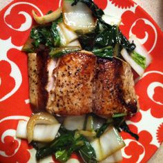 pan seared Mahi with sautéed bok choy
