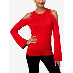 Michael Michael Kors Cotton Bell-Sleeve Cold-Shoulder Sweater,a Style (1.290 CZK) ❤ liked on Polyvore featuring tops, sweaters, crimson, michael kors tops, cotton sweaters, red top, michael kors sweaters and cut-out shoulder sweaters