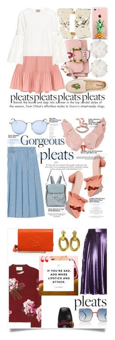 """""""Winners for Give Me Pleats, Please!"""" by polyvore ❤ liked on Polyvore featuring Alexis Bittar, The Casery, Chanel, Miu Miu, Sea, New York, Soludos, pleates, Gucci, Chloé and Victoria Beckham"""