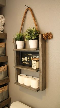 Hanging Wood and Rope Ladder Shelf  The Hanging Rope & Ladder Shelf will make a statement in any home with its rustic yet modern flare and can be utilized anywhere in your house without worry. It works great as additional storage for your bathroom, hanging in your kitchen as a spice rack, or in your laundry room for supplies. Built with solid wood to last. ♦ DIMENSIONS ♦ 25 High 18 Wide (Shelves - 15) 5.5 Deep  ♦ STYLE ♦ Rustic Farmhouse Decor  ♦ LISTING PHOTO STAIN/FINISH & SIZE...