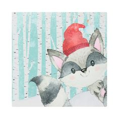 #Posters #Metal #Art - #Woodland Animal Friends in Winter Forest- Racoon Metal Print
