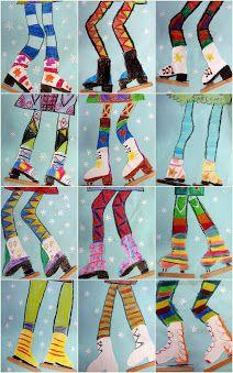 Bruslaři - kresba voskovkou, boty podle šablonky a nalepené - žáci 2. ročníku