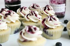 Always With Butter: Blueberry Preserves & Blueberry Cupcakes with Honey Buttercream