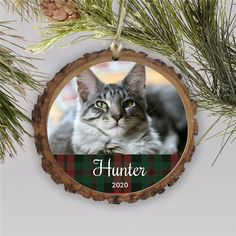 Bring a rustic touch to your Christmas tree this year with a personalized bark ornament with a photo of your family cat #petphotoornaments #barkornaments #rusticchristmasornaments #photoornamentideas #personalizedchristmasornaments Photo Ornaments, Wood Ornaments, Rustic Christmas Ornaments, Word Art Design, Thoughtful Christmas Gifts, Personalized Christmas Ornaments, Personalized Gifts, Plaid, Touch