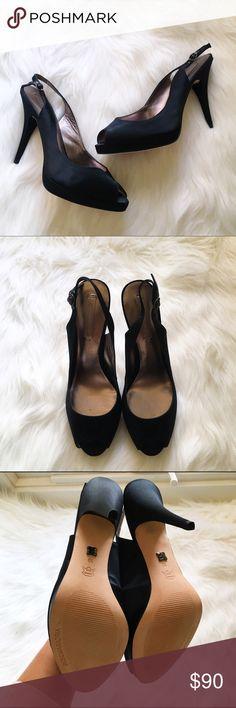 "BCBGMAXAZRIA Black Satin Slingback Peeptoe Pumps NWT & box. BCBGMAXAZRIA Black Satin Peeptoe Pumps. Adjustable strap. Heel height approx 3.5"". The perfect heel height! No modeling/trades. Size 10. BCBGMaxAzria Shoes Heels"
