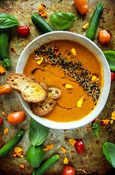 Vegan Tomato Zucchini Soup from HeatherChristo.com