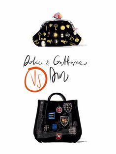 Badge Collection / Dolce & Gabbana and Dior bags.  Open toe, fashion illustrated / opentoeillustration.com