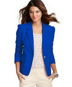 blue jacket white pants